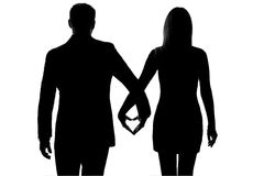 One lovers couple man woman hand in hand Stock Image