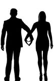 One lovers couple man woman walking hand in hand Stock Images