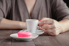 One macaroon and coffee Royalty Free Stock Image