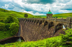 One of the main dams in the summertime of the Elan valley of Wales. Royalty Free Stock Photos