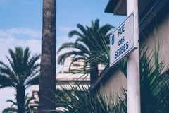 Cannes. One of the main streets, boulevards in Cannes, France. Rue des Serbes Stock Image