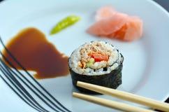One Makizushi sushi fresh maki roll served on a plate Royalty Free Stock Photo