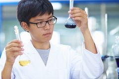 Asian Laboratory scientist working at lab with test tubes. One male Chinese Laboratory scientist working at lab with test tubes Royalty Free Stock Photography