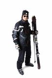 One male skier posing with full equipment on a white background. One male skier posing on a white background Stock Photography