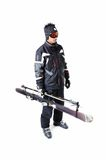 One male skier showing how to carry full equipment Stock Photos