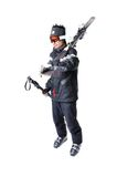 One male skier showing how to carry full equipment Stock Image