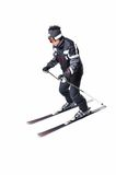 One male skier skiing with full equipment on a white background. One male skier skiing on a white background Royalty Free Stock Photo