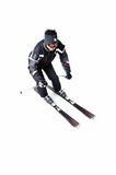 One male skier skiing with full equipment on a white background Stock Photography