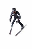One male skier skiing without sticks on a white background Royalty Free Stock Photography
