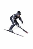 One male skier skiing without sticks on a white background. One male skier skiing on a white background Stock Photos