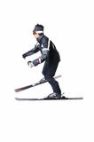 One male skier skiing without sticks on a white background. One male skier skiing on a white background Stock Images
