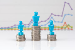 One male and two female figurines standing on piles of coins. Stock Photography
