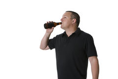One man with beer. A sole male, drinking beer, in happy mood Royalty Free Stock Photo