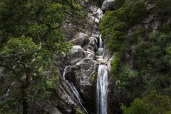 One man canyoning at the Arado Waterfall cascata do arado in the Peneda Geres National Park stock photography