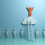 One man climbing ladder to standing on top of the cloud above other people on green pastel color background. Stand out from the crowd and different concept , One Stock Images