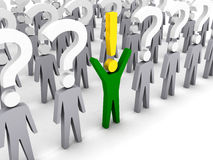 One man with exclamation mark and a lot of men with question marks. Royalty Free Stock Photography