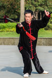 One man exercising tai chi gucheng park shanghai china Royalty Free Stock Photos
