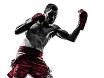 Free One Man Exercising Thai Boxing Silhouette Royalty Free Stock Images - 31946839