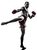 One Man Exercising Thai Boxing Silhouette Royalty Free Stock Images