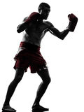 One man exercising thai boxing silhouette Stock Image