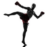 One man exercising thai boxing silhouette Royalty Free Stock Image