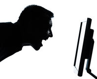One man face silhouette with computer screen Stock Photos