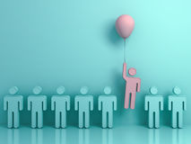 One man flying upward with pink balloon out from other green people Royalty Free Stock Photo
