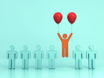 One man flying upward with two red balloons out from green people on light green background Royalty Free Stock Images