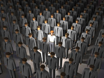 One man of genius from crowd. 3d stock illustration