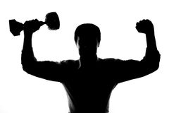 One man happy strong victorious silhouette Stock Photos