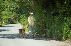 One Man and his Dog. Male out with his dog walking a country lane Royalty Free Stock Photography