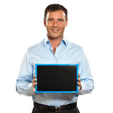 One man holding a blackboard copy space message Stock Photos