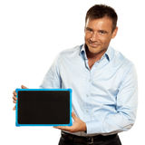 One man holding a blackboard copy space message Royalty Free Stock Photos