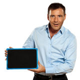 One man holding a blackboard copy space message Stock Photography
