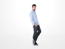 One man leaning against the wall Royalty Free Stock Photo