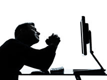 One man silhouette computer computing despair Royalty Free Stock Images