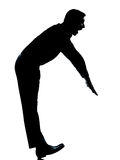 One  man silhouette funny exercise balancing Stock Photography