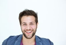 One man smiling with beard on white background Stock Photography