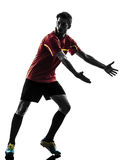 One man soccer player  complaining silhouette Stock Photo