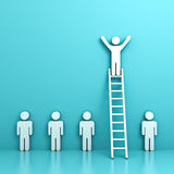 One man standing with arms wide open on top of ladder above other people. Stand out from the crowd and different concept , One man standing with arms wide open Royalty Free Stock Photo