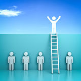 One man standing with arms wide open on top of the wall with ladder above other people. Stand out from the crowd and different concept , One man standing with Stock Images