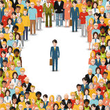 One man stayed in crowd, conceptual illustration. One man stayed in crowd, conceptual flat illustration royalty free illustration