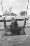 One man swing feel alone Royalty Free Stock Images