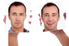 One man, with two faces on the mirror Stock Images