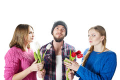 One man and two women Royalty Free Stock Photo