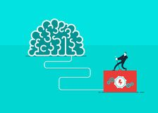 One man who turn on the brain. Vector business vector illustration