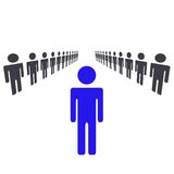 One Man Or Woman Being Leader. And Standing Out Of Crowd and Taking Charge Vector Illustration Royalty Free Stock Images