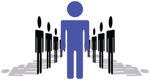 One Man Or Woman Being Leader and Standing Out Of. Crowd and Taking Charge Vector Illustration Stock Images