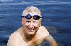 Senior man with swim goggles Stock Photography