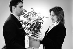 One manager offering gift to his colleague Royalty Free Stock Image